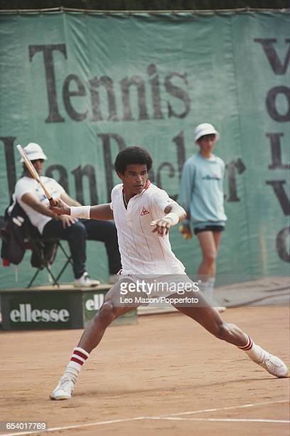 French tennis player Yannick Noah pictured in action competing in the Men's Singles tournament at the 1981 Monte Carlo Open at the Monte Carlo...