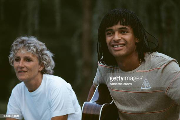 French Tennis Player Yannick Noah with His Mother Marie-Claire