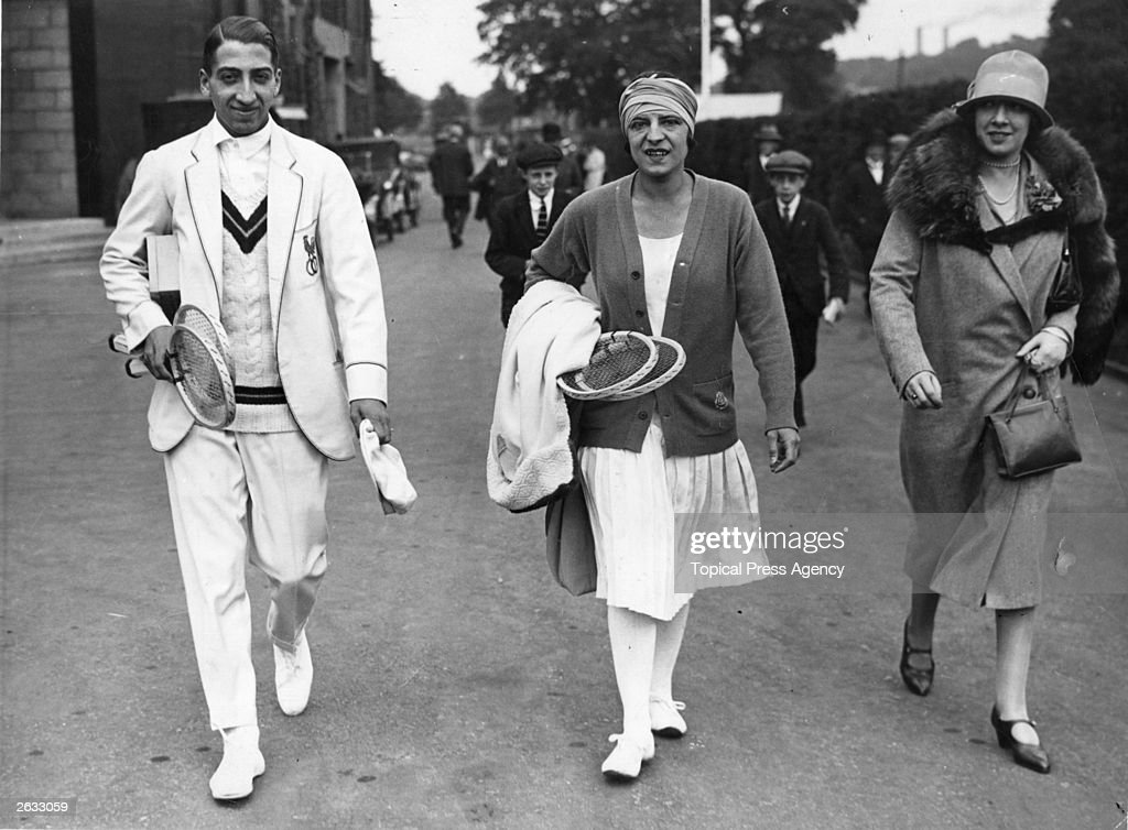 French tennis players Suzanne Lenglen and Rene Lacoste arrive for practice at Wimbledon. Original Publication: People Disc - HH0140
