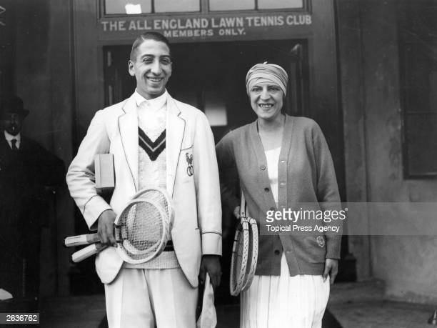 French tennis players Suzanne Lenglen and Rene Lacoste preparing for a  practice game at the All 9ea9443a0e2b3