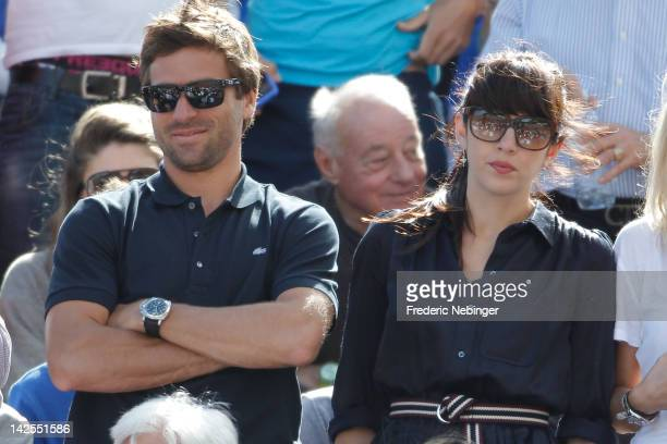 French Tennisman Arnaud Clement with his girlfriend and Famous French Singer Nolwenn Leroy attend the Davis Cup Quarterfinals on April 7 2012 in...