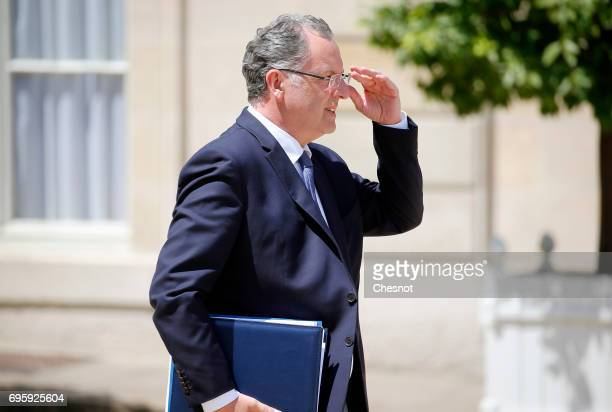 French Territorial cohesion Minister Richard Ferrand leaves the Elysee Presidential Palace after a weekly cabinet meeting on June 14 2017 in Paris...