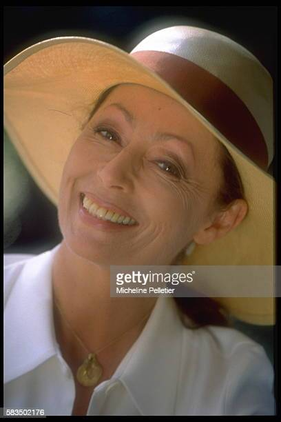 French theater actress Claudine Coster on the terrace of her Plaisir home near Paris