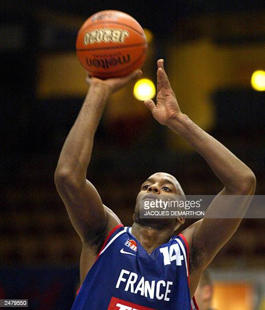 French Thierry Rupert goes for a free throw 07 September 2003 during the match France vs. Slovenia counting for the Euro 2003 Basketball...