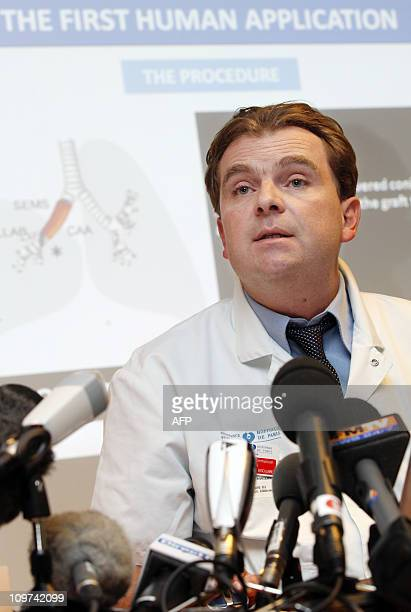 French thoracic and vascular surgeon Emmanuel Martinod gives a press conference on March 3 2011 at the Avicienne hospital in Bobigny a northern Paris...