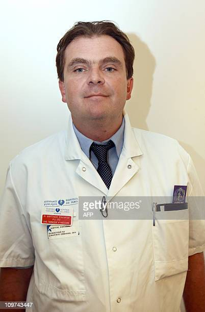 French thoracic and vascular surgeon Emmanuel Martinod poses prior to a press conference on March 3 2011 at the Avicienne hospital in Bobigny a...