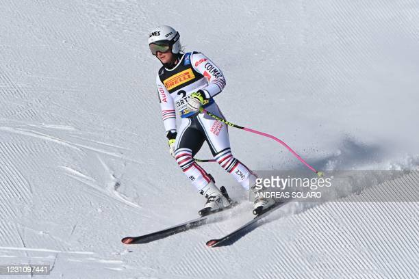 French Tiffany Gauthier recats after crossing the finish line of the Women's Super G event on February 11, 2021 during the FIS Alpine World Ski...