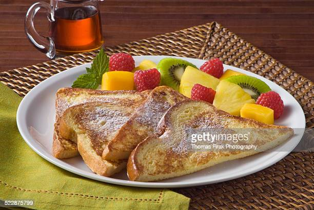 french toast and fruit -  firak stock pictures, royalty-free photos & images