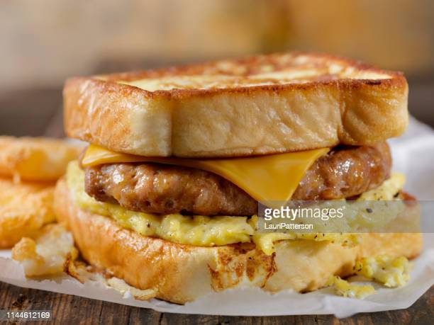 french toast breakfast sandwich - breakfast stock pictures, royalty-free photos & images