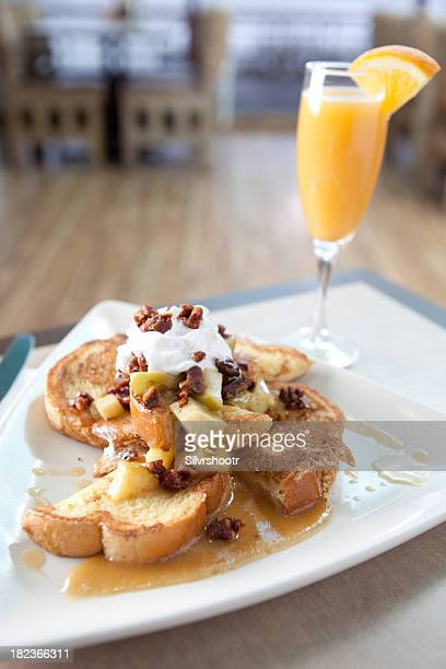 french toast with apple chutney and pecans - mimosa stock pictures, royalty-free photos & images