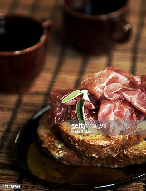 French toast with crispy prosciutto