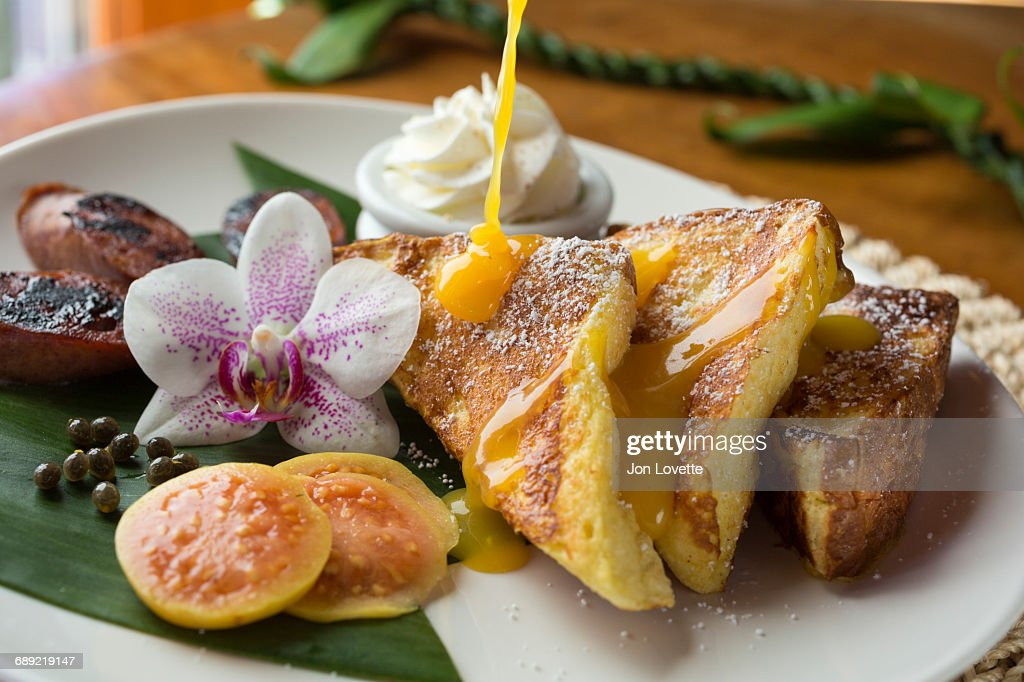 French Toast with Tropical Fruits : Stock Photo