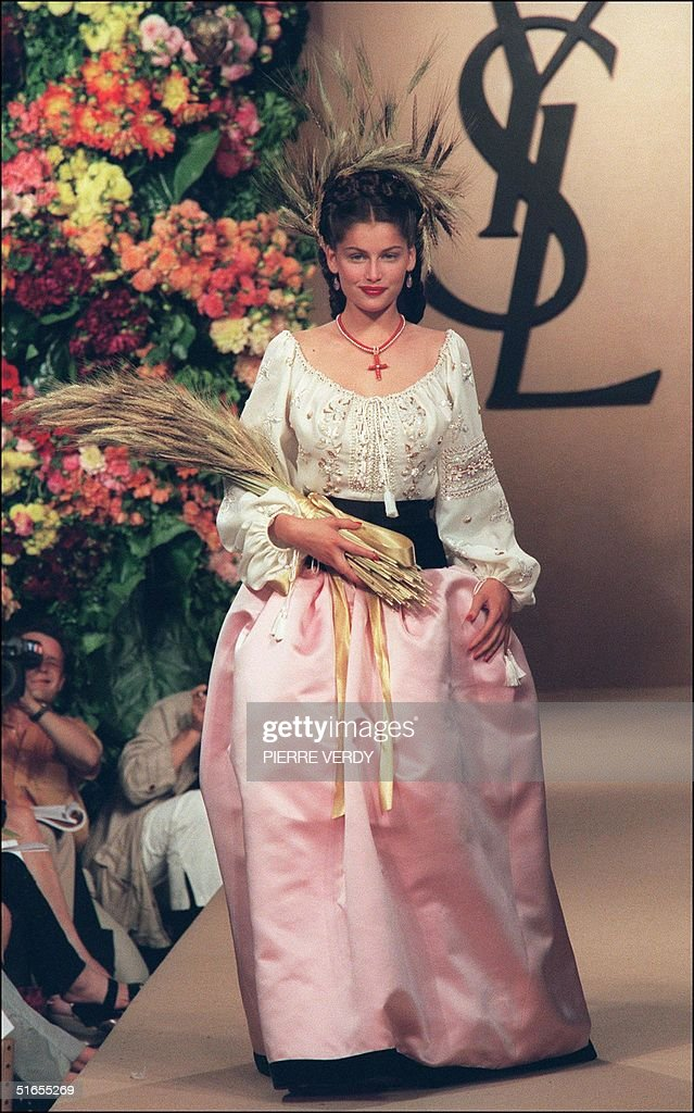 French Top Model Laetitia Casta Presents A Wedding Dress For Yves Saint Laurent