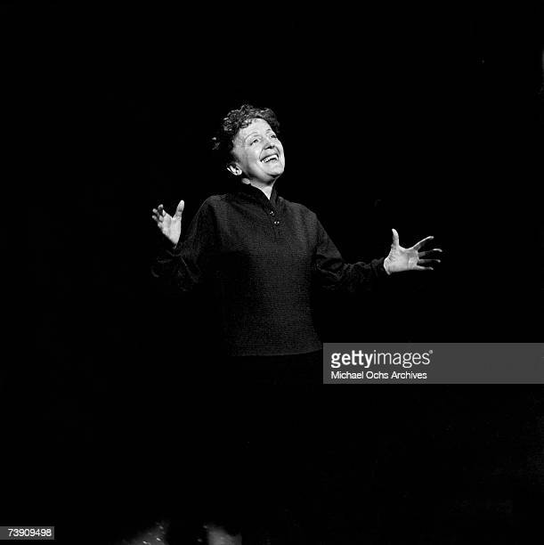 French torch singer Edith Piaf performs on the Ed Sullivan Show on February 22 1959 in New york city New York