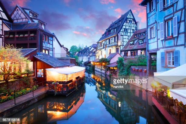 French town Colmar in the evening