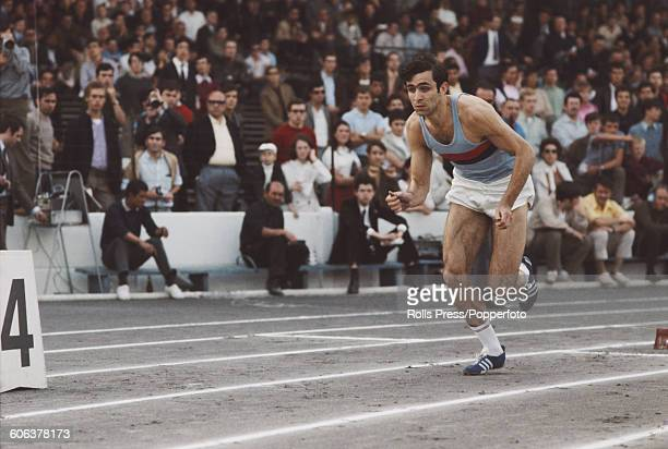 French track athlete and sprinter JeanClaude Nallet pictured in action in the 400 metres event during trials for places in the French Olympic team...