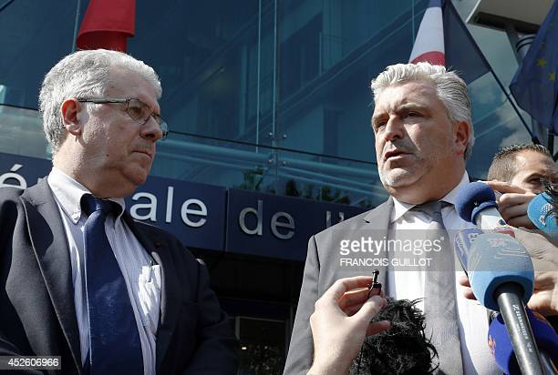 French Transport Minister Frederic Cuvillier flanked by Patrick Gandil , head of the Directorate General for Civil Aviation , answers to journalists...