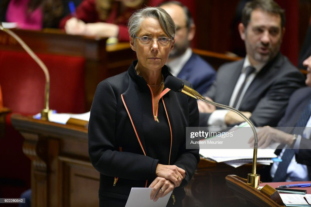 French Transports Minister Elisabeth Borne answers deputies questions during a session of questions to the government at Assemblee Nationale on February 21, 2018 in Paris, France.