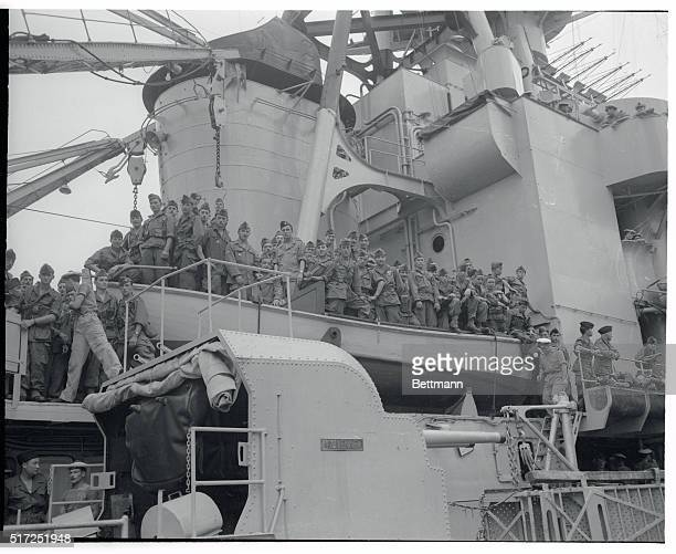 French Troops Arrive at Casablanca Casablanca Soldiers of the French Fifth Infantry Regiment called the 'Navarbe Regiment' line the rails of the...