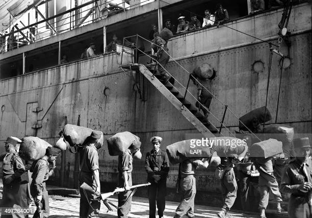 French troops departing from Marseille before the start of the First Indochina War September 1945