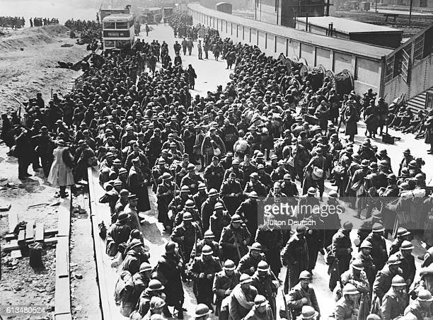 French troops in a town on the south coast of England after the mass evacuation from Dunkirk during World War II