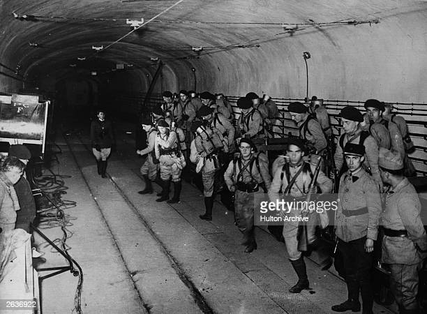 French troops in the underground tunnels that made up the Maginot Line which was supposed to defend France's frontiers
