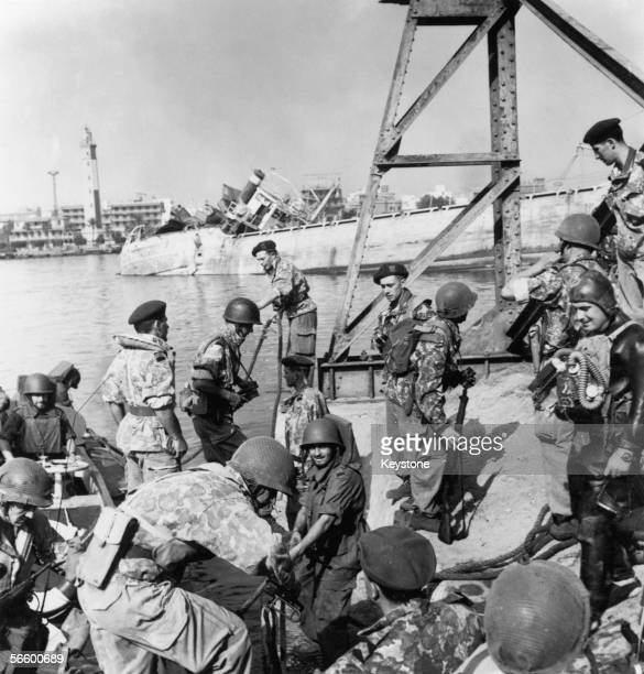 French troops landing at the harbour in the Bur Fu'ad district of Port Said, Egypt during the Suez crisis, 10th November 1956.