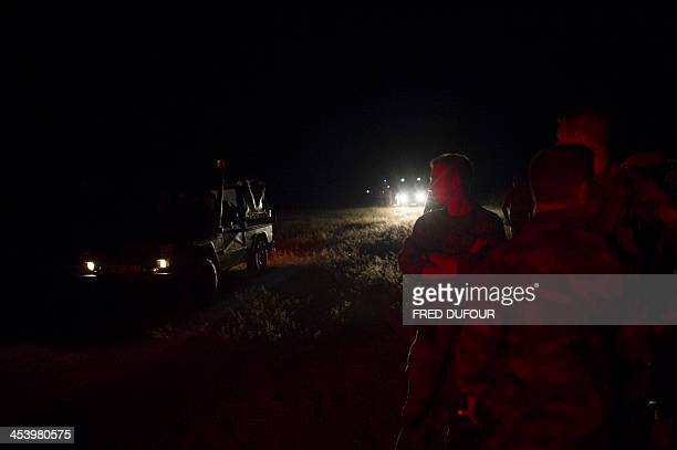 French troops taking part in operation Sangaris arrive at a base camp on December 6 2013 in Cameroon on the border of the Central African Republic...