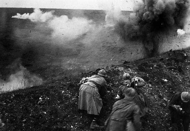 French troops under shellfire during the Battle of...