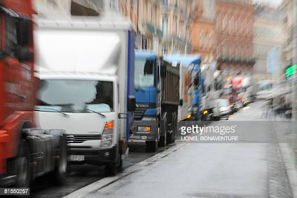 French truckers block long-haul traffic demanding measures to counter soaring fuel prices, on June 13, 2008 in Toulouse, southern France. Crude oil...