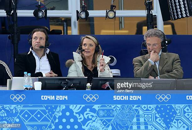 French TV analysts Philippe Candeloro Annick Dumont and Nelson Monfort comment the Figure Skating Ladies' Free Skating on day 13 of the Sochi 2014...