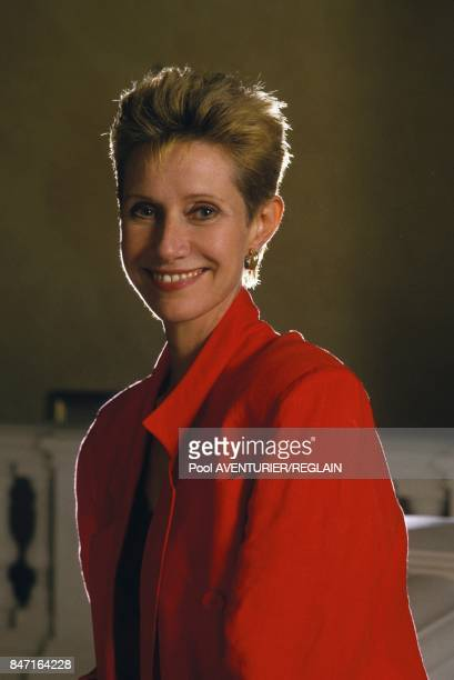 French TV animator Daniele Gilbert attends evening of 'August holidaymakers' at Saint James hotel on August 11 1987 in Paris France