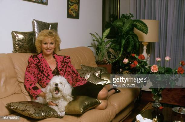 French TV Announcer Evelyne Leclercq at Home Paris March 3 1987