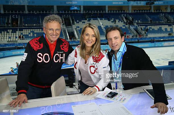 French TV commentators Nelson Monfort Annick Dumont and Philippe Candeloro pose during the Figure Skating Pairs Free Program on day 5 of the Sochi...