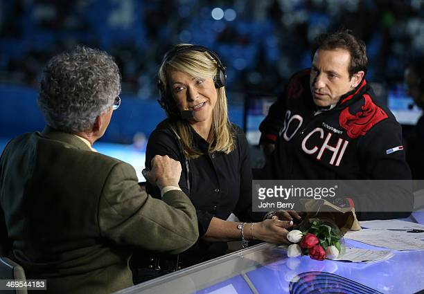 French TV commentators Nelson Monfort Annick Dumont and Philippe Candeloro attend the Figure Skating Men's Free Skating on day seven of the Sochi...