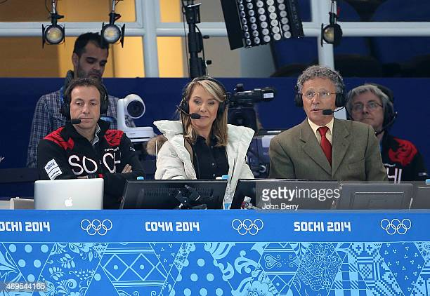 French TV commentators Philippe Candeloro Annick Dumont and Nelson Monfort attend the Figure Skating Men's Free Skating on day seven of the Sochi...