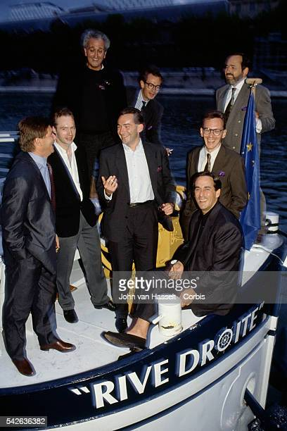 French TV host and producer Thierry Ardisson surrounded by Eric Neuhoff Frederic Berthet Olivier Frebourg JeanMichel Gravier JeanMarc Parisis Denis...