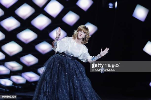 French Tv host Daphne Burki speaks on stage during the 33rd Victoires de la Musique the annual French music awards ceremony on February 9 2018 at the...