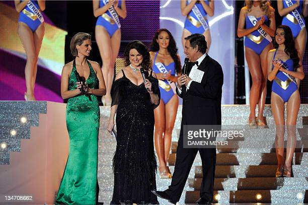 French TV host JeanPierre Foucault and Former Miss France 2002 and Miss France society president Sylvie Tellier welcome French Christiane Martel Miss...