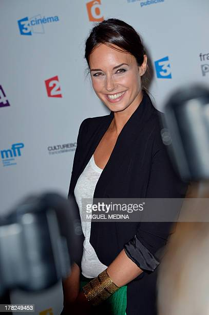 French TV host Julia Vignali poses during a photocall following the France Televisions new season press conference at the Palais de Tokyo on August...