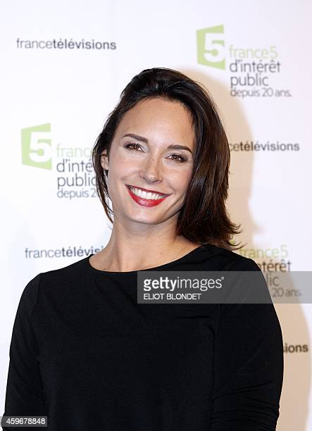 French TV host Julia Vignali poses on November 27 2014 in Paris during the celebrations of the 20th anniversary of French public television channel...