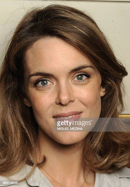 French TV host Julie Andrieu poses on April 10 2010 during the Cite de la Reussite in Paris La Cite de la Reussite has gathered students from Europe...