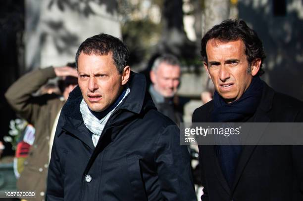 French TV host Marc Olivier Fogiel and Carrefour's CEO Alexandre Bompard arrive to attend the funeral ceremony for French journalist Philippe Gildas...