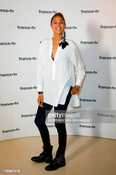 French TV host Sophie Ducasse alias Tiga poses ahead of a press conference of France Television, on June 18, 2019 in Paris.
