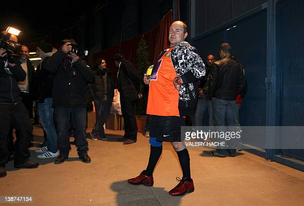 French Tv host Vincent Lagaff poses on February 11 2012 in Monaco during the Show Beach Soccer Celebrities' Tournament The event gathers highstatus...