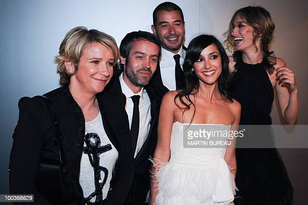 French TV hosts Ariane Massenet Yann Barthes Ali Baddou Elise Chassaing and Pauline Lefevre arrive to attend the Figaro Madame/Chanel dinner during...