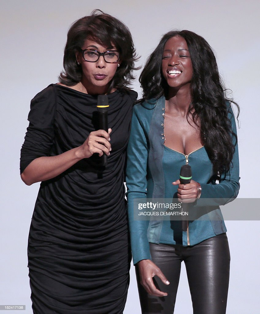 Hapsatou Sy french tv hosts audrey pulvar and hapsatou sy deliver a