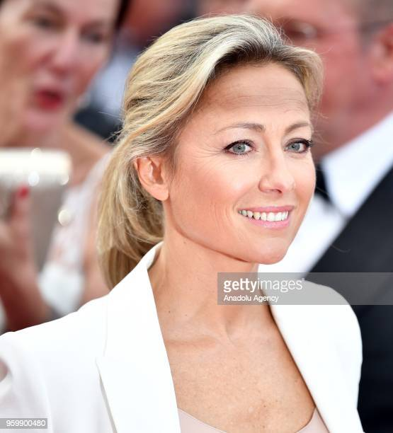 French TV journalist AnneSophie Lapix arrives for the screening of the film 'The Wild Pear Tree ' at the 71st Cannes Film Festival in Cannes France...