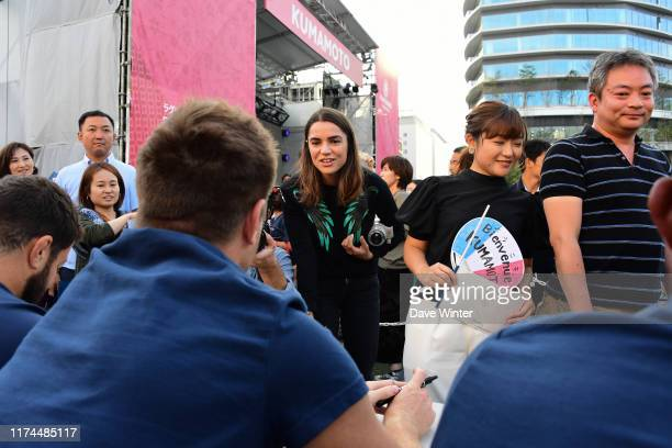 French tv journalist Cecile GRES during the France squad visit to the Fan Zone - Rugby World Cup 2019 - on October 08, 2019 in Kumamoto, Japan.