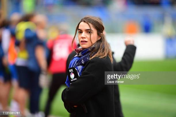 French tv journalist Cecile Gres during the Guinness Six Nations match between Italy and France on March 16, 2019 in Rome, Italy.